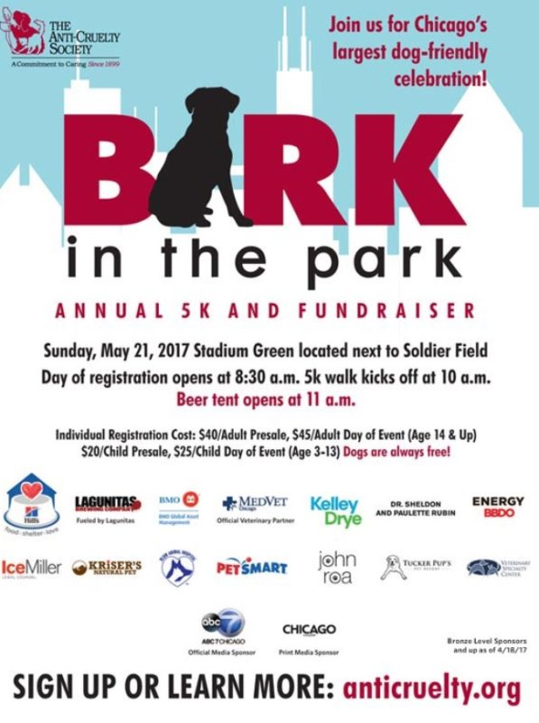 Event Alert! Bark in the Park with the Anti-Cruelty Society – May 21st